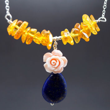 Lapis Lazuli Necklace  Rose Flower Coral Necklace  Amber Necklace Sterling Silver  Gift For Mom   Lapis Lauzli Jewelry Healing Stone