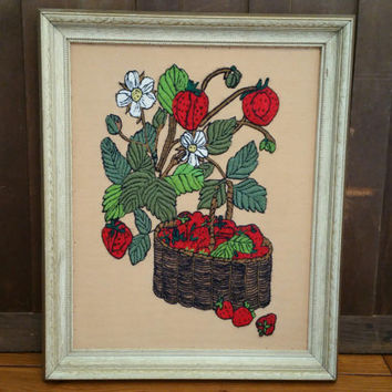 Vintage Framed Strawberry Embroidery Needlepoint