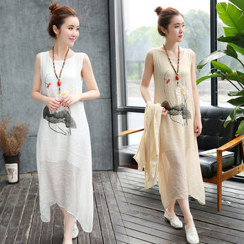 2016 Summer Art Style Women Long Dresses Print Loose Cotton Linen 2 Piece Set Sleeveless O-neck Casual White Maxi Dress
