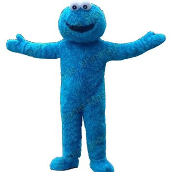 Fast Free Shipping Sesame Street Blue Cookie Monster mascot costume Cheap Elmo Mascot Adult Character Costume Fancy Dress