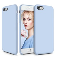 Silicone iPhone 6 6s Case, Cute Liquid Rubber iPhone 6 6s Shockproof Case with Soft Microfiber Cloth Cushion Protective Gel Slim Cover for Apple iPhone 6 6s - Light Blue