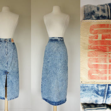 1980's acid wash skirt, high waist denim pencil skirt, Bongo jean skirt, long blue skirt w/ high back slit, Large, US 10