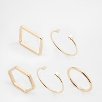 ASOS Mixed Shapes Open Ended Ring Pack