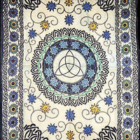Triquetra Trinity Floral Flowers Celtic Wicca Altar Cloth Bedspread TAPESTRY