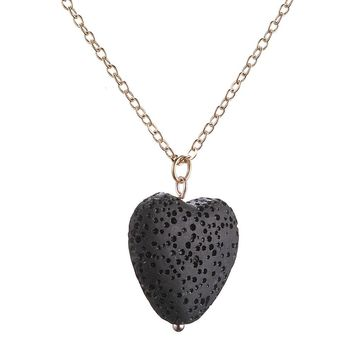 Natural Stone Pendant Lava Rock Stone LOVE Heart Star Round Loose Volcanic Beads Choker Necklaces for women Valentine's Day Gift