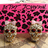 Betsey Johnson Skull Bow Earrings