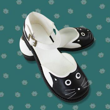 PEAPON Cute Party Cosplay Woman Black Sandals Flat Costume Props Halloween Performance Shallow Mouth Cat Shoes Female 36/37/38/39