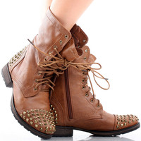 Georgia-28 Studded Combat Ankle Boots