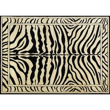 World Rug Gallery Nova Collection Zebra Rug (Black)