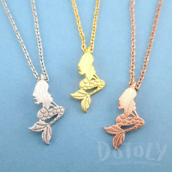 Sitting Mermaid Ariel Silhouette Shaped Pendant Necklace | DOTOLY