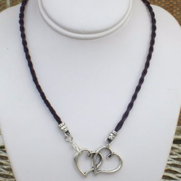 Horse Hair Necklace with Double Heart Charm Pendant