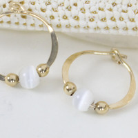 Gold filled hoop earrings White glass cats eye bead endless round handmade