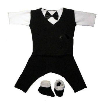Baby Boys' Black & White Suit with Black Vest