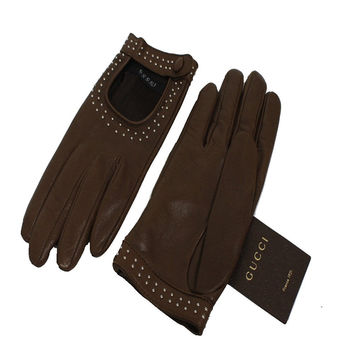 Gucci Women's Studded Leather Riding Gloves 370649 OS