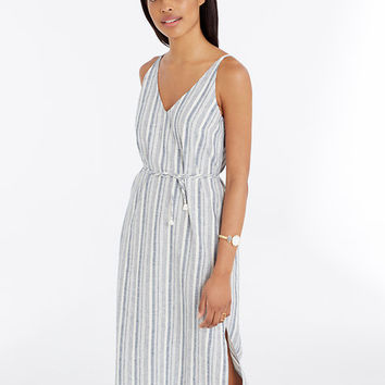 Striped Linen Cotton Midi Dress | Ann Taylor