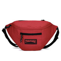 Thrasher new fashion letter print canvas waist bag shoulder Bag Red