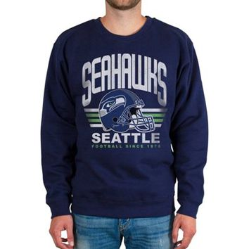 Mens Seattle Seahawks College Navy Fleece Crew Sweatshirt
