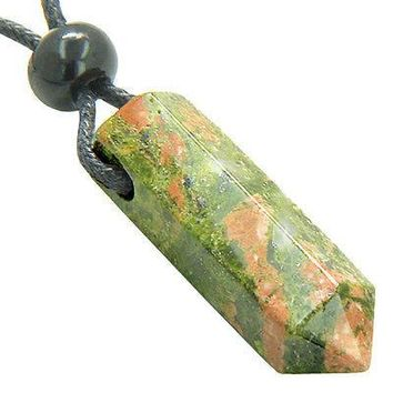 Lucky Crystal Point Pendant Necklace in Unakite Gemstone