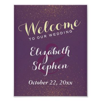 Purple Gold & Glitter Sparkle Wedding Sign Poster