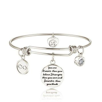 Charmire Inspirational Bangle Bracelet Engraved You are braver than you believe Stronger than you seem and Smarter than you think Motto Womens Jewelry Girls Gifts