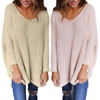Women's Fashionable Loose Fit V Neck Long Sleeve Sweater