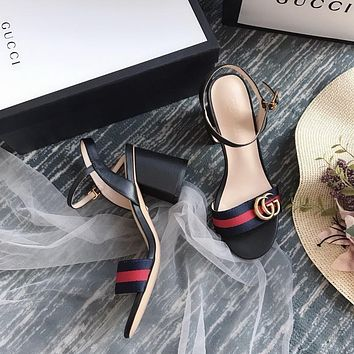 Gucci GG Women Black Leather With Thong Web Mid-heel Sandals