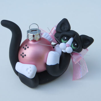 Polymer Clay Black Tuxedo Cat Christmas Ornament Figurine Sculpture Handcrafted