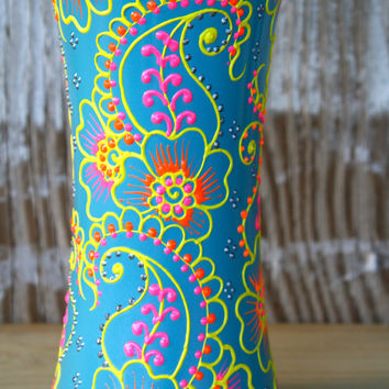 Colorful Hand Painted Vase, Henna Style Design, Sky blue with bright pink, sunny yellow, coral orange and silver accents