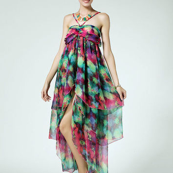 Multi-color Layered Halter Maxi Dress