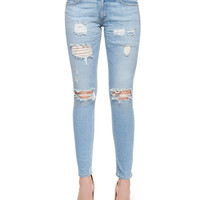 Distressed Skinny Ankle Jeans,