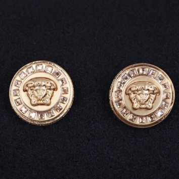 Versace New fashion more diamond women retro round personality high quality earring Golden