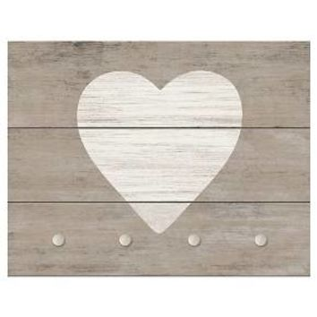 Heart with Hooks Decorative Wall Panel - Wood