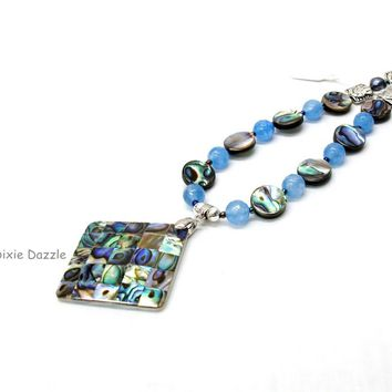 Beach necklace, inlaid abalone shell pendant with large freshwater pearls and blue jade. Made in USA, shop local TN