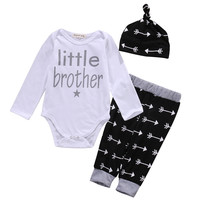 2016 kids baby clothes baby clothing sets Newborn Baby Boys arrow Romper Tops +Long Pants Hat 3PCS Outfits Set Clothes Pajamas