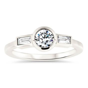 Diamond Baguette and Round Center Engagement Ring Moissanite Diamond Thin Band Ring - Claire