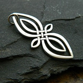 Infinity Link - Sterling Silver Large Celtic Knot Infinity Charm - Connector, Figure Eight, Marquis Shape