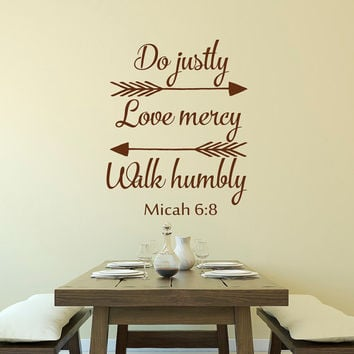 Bible Verse Decal Do Justly Love Mercy And Walk Humbly Micah 6:8- Arrows Wall Decals - Inspirational Religious Saying Wall Decal Quote Q271