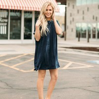 Blue Velvet Tunic Dress