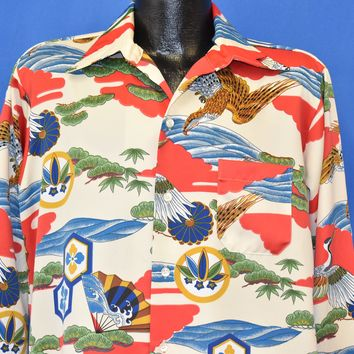 70s Japanese Print Crane Eagle Fan Disco Shirt Large