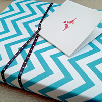 Chevron Blue and White Patterned Wrapping Paper for Small Gift