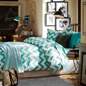 Chevron Duvet Cover + Sham, Pool