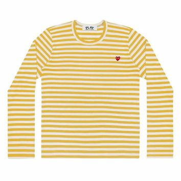 Comme de Garcon Play Small Red heart Stripe long t-shirts Light Yellow+white