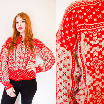Vintage 1960s Sweater - Wool Knit Red & Grey Nordic Cardigan 60s - Medium - Large