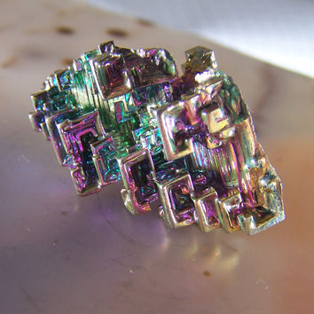 Bismuth specimen - mineral - crystal - wire wrap stone - display - mounting - rock collection - crystal healing - rainbow metallic