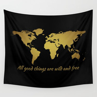World Map Wall Tapestry Inspirational Quote Wall Hanging, World Map Decor Thoreau, World Map, Map of the World Black Gold All Good Things