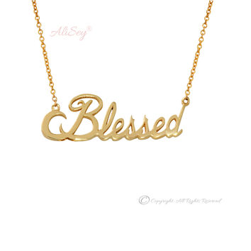 14k Yellow Gold Blessed Pendant, Style # ASP03YG