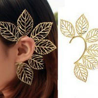 Golden Leaves Single Ear Cuff | LilyFair Jewelry