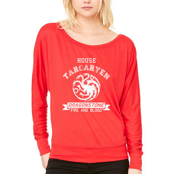 house targaryen WOMEN'S FLOWY LONG SLEEVE OFF SHOULDER TEE