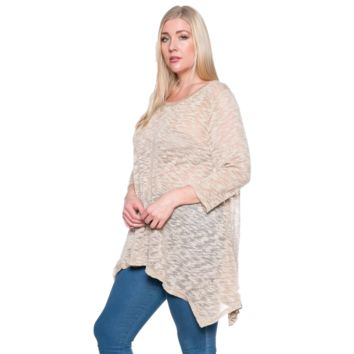 Plus Size Mocha Crew Neck Knit Top
