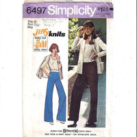 Simplicity 6497 Pattern for Misses' Jiffy Knit Top, Cardigan, Pants, From 1974, Size 10, Vintage Pattern, Home Sewing Pattern, 1974 Fashion